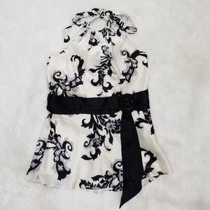 Silk floral White House Black Market halter top